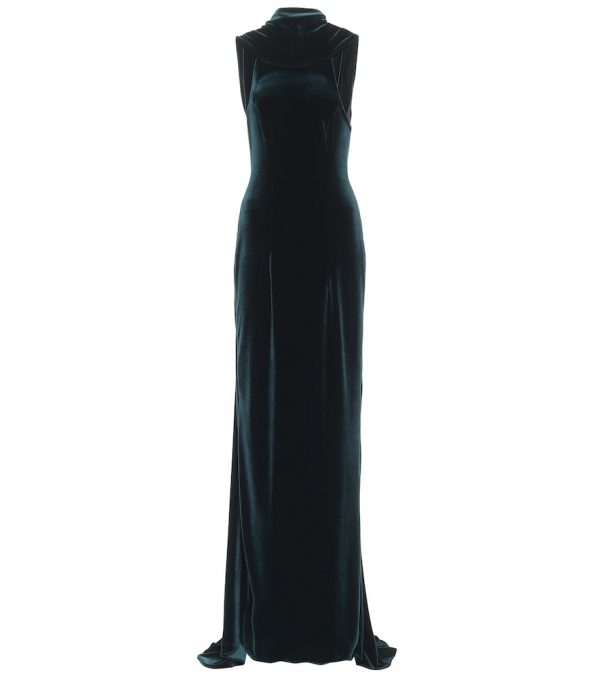 Stretch-velvet gown