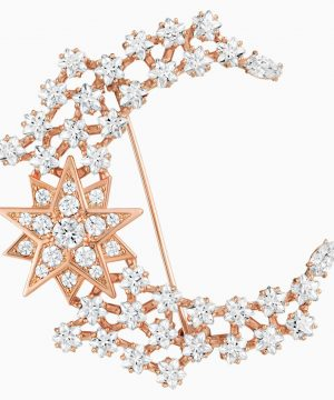 Swarovski Moonsun Brooch, White, Rose-gold tone plated