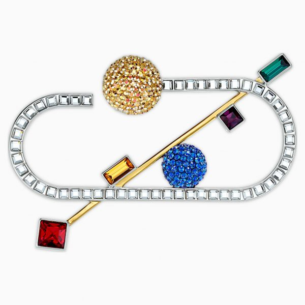 Swarovski Spectacular Brooch, Dark multi-colored, Mixed metal finish