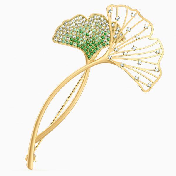 Swarovski Stunning Gingko Brooch, Green, Gold-tone plated