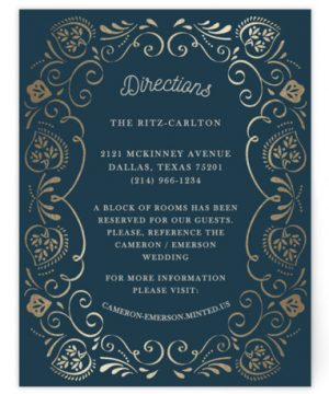 Sweet Leaves Foil-Pressed Direction Cards