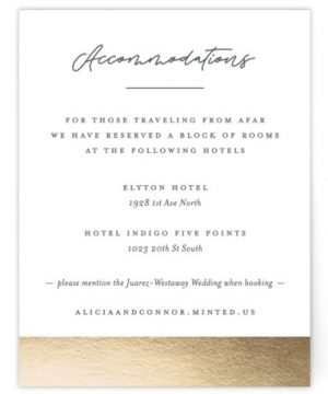 Sweet Union Foil-Pressed Direction Cards