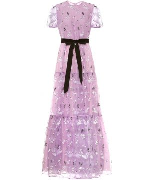 Triin floral-embroidered organza gown