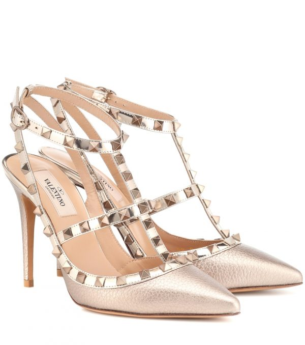 Valentino Garavani Rockstud metallic leather pumps