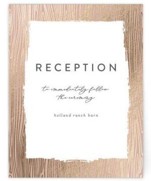 White Oak Foil-Pressed Reception Cards