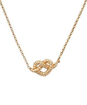 kate spade new york Loves Me Not Gold-Tone Pave Knot Mini Pendant Necklace, 17-19.5