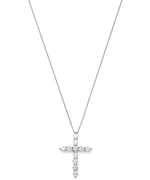 Bloomingdale's Diamond Cross Pendant Necklace in 14K White Gold, 17-19, 2.0 ct. t.w. - 100% Exclusive