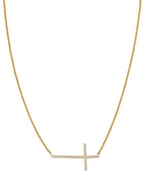 Bloomingdale's Diamond East West Cross Pendant Necklace in 14K Yellow Gold, 16, 0.15 ct. t.w. - 100% Exclusive