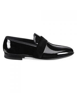 COLLECTION BY MAGNANNI Patent Leather & Stamped Velvet Dress Shoes