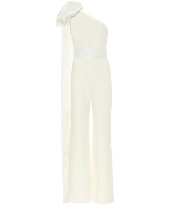 Darlene one-shoulder crêpe bridal jumpsuit
