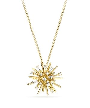 David Yurman Supernova Small Pendant Necklace with Diamonds in 18K Gold