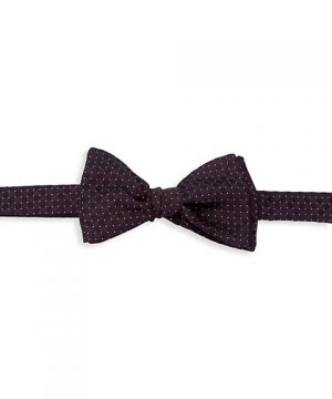 Dot Gingham Silk-Blend Bow Tie
