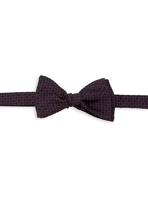 Dot Gingham Silk-Blend Bow Tie