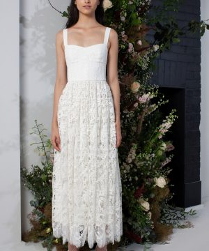 Eliza Lace Fit and Flare Wedding Dress - summer white