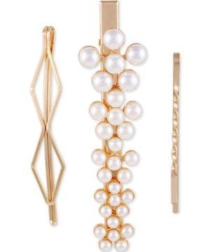 Guess Gold-Tone 3-Pc. Set Imitation Pearl Hair Pins & Alligator Clip