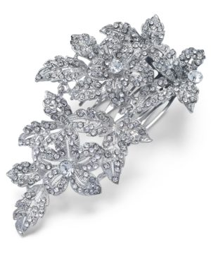 Inc Silver-Tone Pave Flower Hair Comb, Created for Macy's