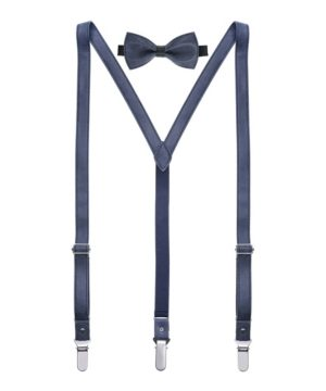 Mio Marino Men's Suede Leather Suspenders Bow Tie Set