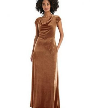 Special Order Cowl-Neck Cap Sleeve Velvet Maxi Dress with Pockets