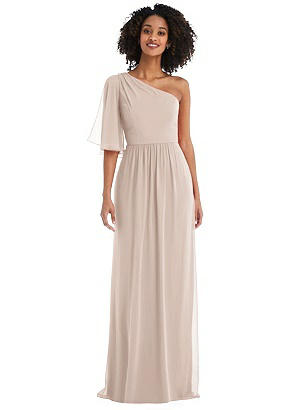 Special Order One-Shoulder Bell Sleeve Chiffon Maxi Dress