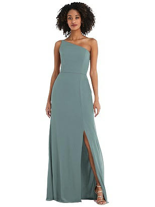 Special Order Skinny One-Shoulder Trumpet Gown with Front Slit