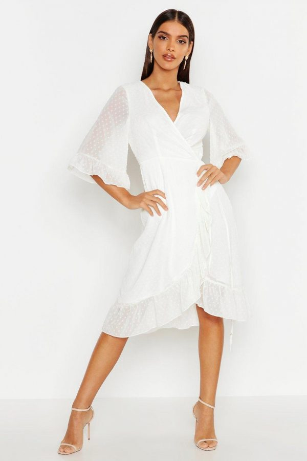 Womens Dobby Chiffon Wide Sleeve Midi Wrap Dress - White - 14, White