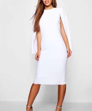 Womens Petite Cape Sleeve Midi Dress - White - 8, White
